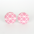 Buy 3 Get 4th Free! Pink Stripe Fabric Button Stud Earrings