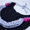 T-shirt yarn necklace, polymer clay beads, fabric necklace,knitting,FREE postage