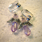 Mauve angels earrings with silver clip on.