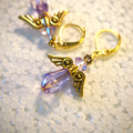 Mauve angels earrings with gold lever backs