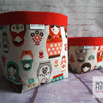 Mother's Day Gift, Matryoshka Russian Dolls Fabric Storage Baskets, Set of 2