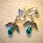 Green pearl angels silver clip on earrings
