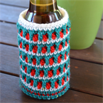 White, Green & Red Cooler/Bottle Cosy/Koozie