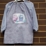 Art smock for 5 - 8 year old. mauve, check, owls.