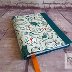 "A5 Journal Cover, Notebook Cover, Diary Cover, ""Cat Lady Meow"""