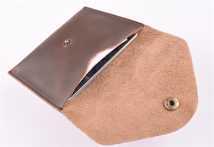 b1761527614d Minimalist Handmade Genuine Leather Coin Wallet. Leather Envelope. Dark  Brown.