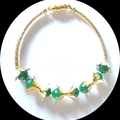 Natural Emerald and gold bracelet