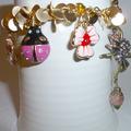 Pink enamel charms bracelet
