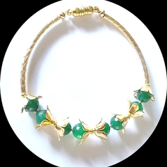 Natural Emerald and gold bracelet