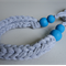 T-shirt yarn necklace, blue clay, chunky necklace, fabric necklace, FREE post