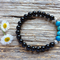 Black Onyx Gemstone & Blue Crazy Lace Agate Bead Bracelet