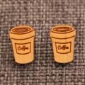 Coffee~Laser Cut Bamboo Stud Earrings