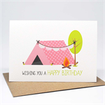 Birthday Card Girl - Girl's Camping Tent and Bunting for a Girl - HBC226