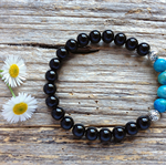 Black Onyx Gemstone & Blue Crazy Lace Agate Bead Bracelet