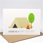 Birthday Card Boy - Boy's Camping Tent and Fire - HBC225
