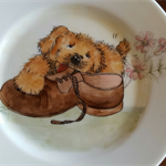 Hand painted puppy on Royal Doulton plate