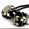 Pair of kimono fabric covered hair bands / ponytail elastic - black and cream