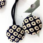 Pair of kimono fabric covered hair bands / ponytail elastic - navy shibori