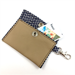 Leather and kimono fabric hand made coin purse with key ring
