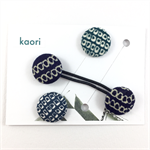 Pair of kimono fabric covered hair bands / ponytail elastic - blue shibori