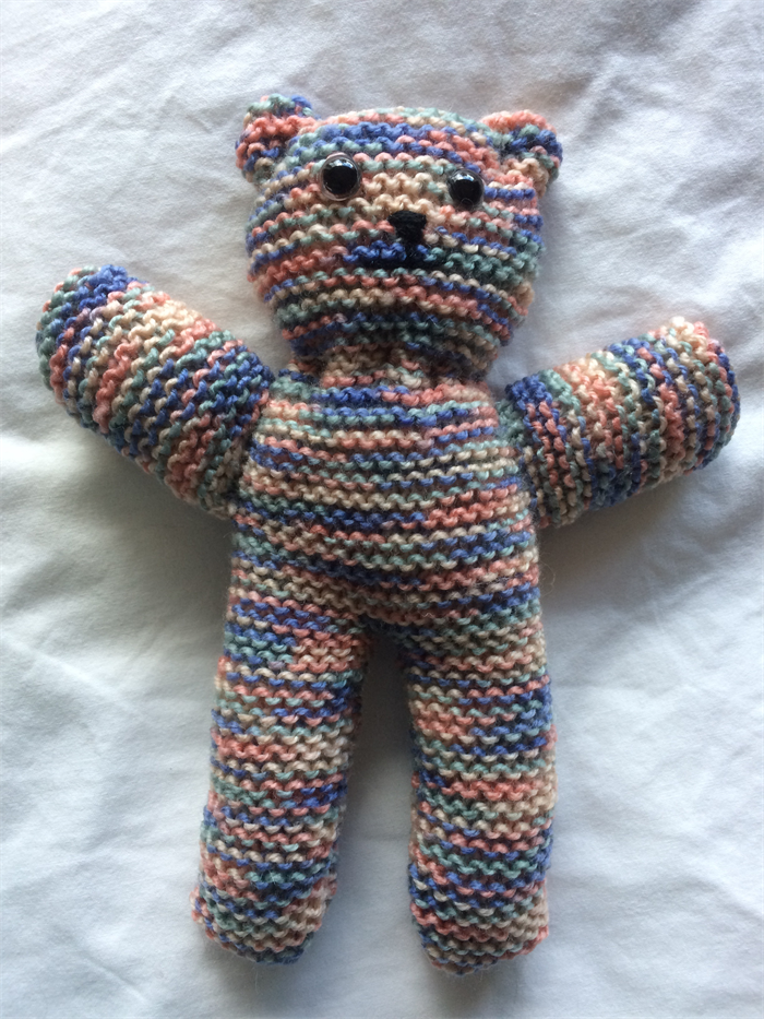 Hand Knitted Multi Colored Teddy Bear Pollys Knit Craft