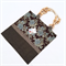 Tote bag in kimono fabric- navy shibori and green floral with beaded handles