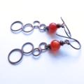 Loopy carnelian gemstone dangle copper geometric earrings