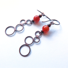 Loopy carnelian gemstone dangle copper geometric earrings