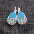 Summer Daisies on Blue~ Lever Back Earrings