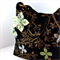Handbag - canvas fabric with detachable flower brooch - woodland trees