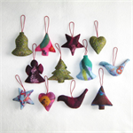 12 Felted Christmas Decorations 1 Angel 3 Trees 2 Hearts 2 Bells 2 Birds 2 Stars