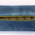 Upcycled Denim Pencil Case - Green