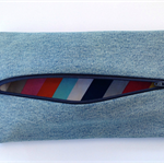 Upcycled Denim Pencil Case - Striped
