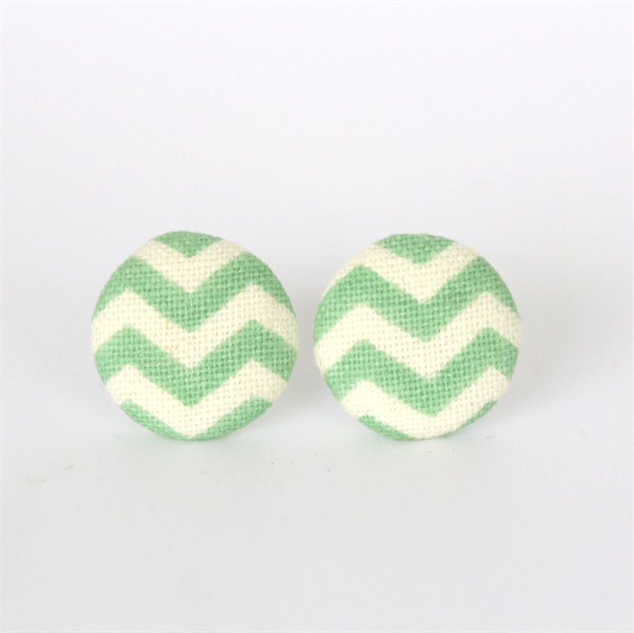 Buy 3 Get 4th Free! Green Chevron Fabric Button Stud Earrings | 2 ...