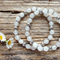 Natural White Jade Gemstone & Tibetan Bead Bracelet Set