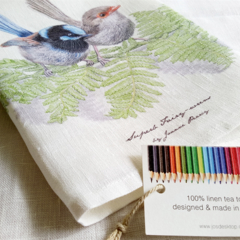 Superb Fairy-wren Tea Towel, Australian wildlife illustration, blue wren
