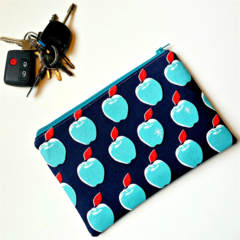 Blue and Turquoise Apple teacher purse clutch