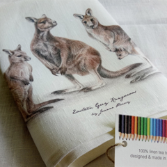 Kangaroos Tea Towel, Australian wildlife illustration, Eastern Grey family