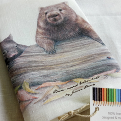 Wombats Tea Towel, Australian wildlife illustration, Common wombat mum and baby