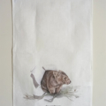 Wombat Tea Towel, Australian wildlife illustration, Common Bare-nosed with grass