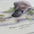 Platypus Tea Towel, Australian wildlife illustration, with Growling Grass Frog