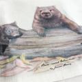 Wombats Tea Towel, Australian wildlife illustration, Common wombat mum and baby
