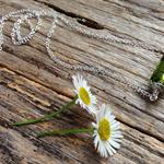 Olive Green Lampwork Glass & Sterling Silver Bar Necklace