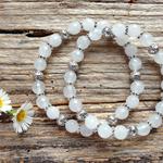 Natural White Jade Gemstone & Tibetan Bead Bracelet Set
