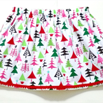 Christmas Trees Skirt with Pom Pom Trim
