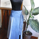 Panelled denim maxi wrap skirt