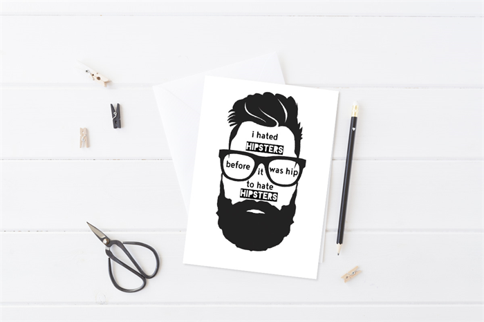 Funny Greeting Card Card For Him Mens Birthday Card Hipster