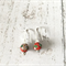Red cloisonné sterling silver trumpet hook earrings
