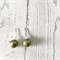 Green, gold and red sterling silver trumpet earrings