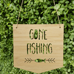 Gone Fishing wooden / bamboo sign wall hanging